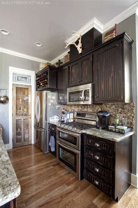 Rustic Grey Kitchen Cabinets by Rustic Meets Refined The Lettered Cottage