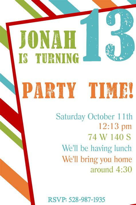 bday invitation templates free printable birthday invitation templates