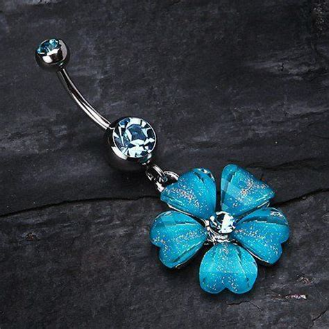 Flower Branch Belly Button Ring shimmering flower petal dangle belly ring belly rings belly button
