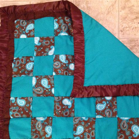 Teal And Brown Quilt by Brown And Teal Baby Quilt On Storenvy