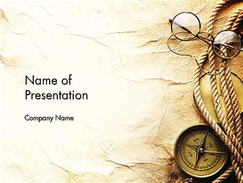powerpoint design old compass rope and glasses on old paper powerpoint template