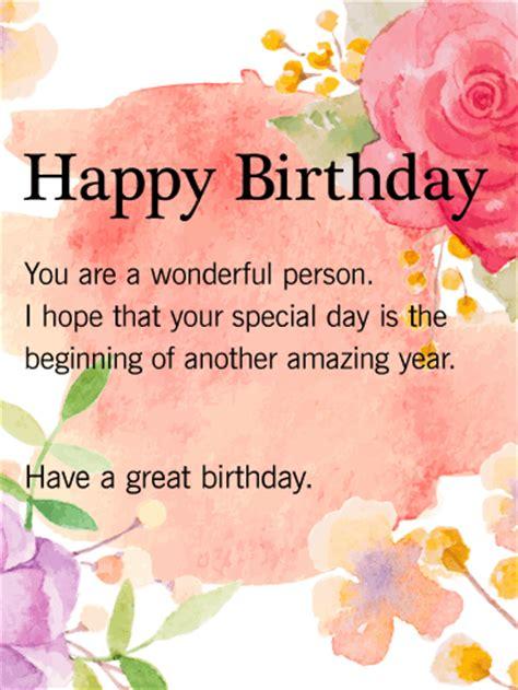 Happy Birthday Wish You A Wonderful Day Wishing You A Beautiful Day Happy Birthday Card