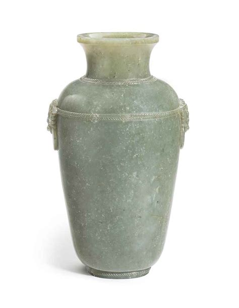 Qing Dynasty Vase Value by A Large Greyish Green Jade Vase Qing Dynasty
