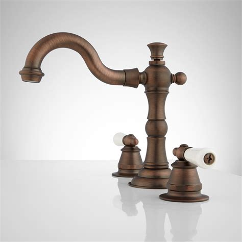 bathroom sink faucets with handles roseanna widespread bathroom faucet small porcelain lever handles rubbed bronze