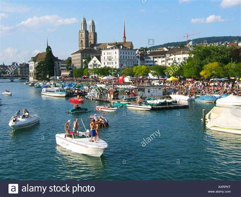 river street boat parade switzerland zurich street parade party boats on river