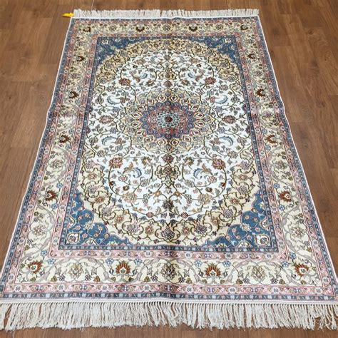 silk rugs handmade yilong 4x6 floral handmade silk carpet style knotted qum area rugs ebay