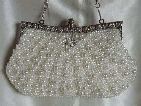 Beaded Evening Clutch handsewn pearl beaded rhinestone evening purse