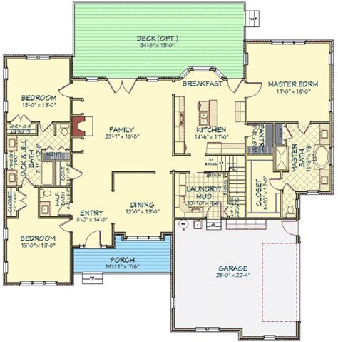 split bedroom house plan with bonus room 46221la 1st