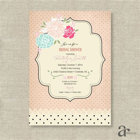 vintage shabby chic bridal shower invitations shabby chic bridal shower invitations template best template collection