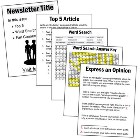 layout of word processing design a fan club newsletter using google docs write