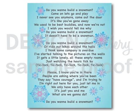 printable lyrics in summer frozen do you want to build a snowman song lyrics diy