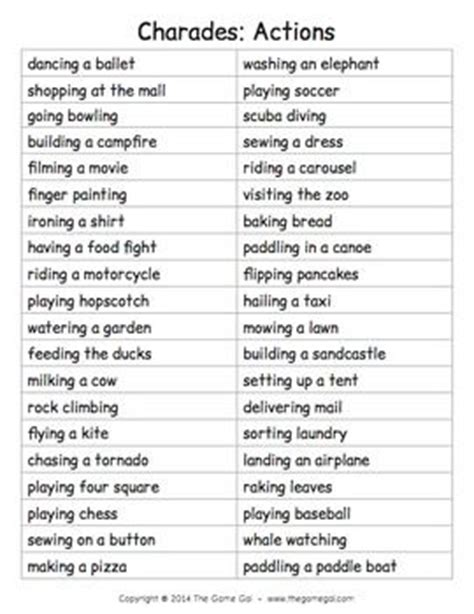 5 best images of printable adult charades words free funny pictionary words list related keywords suggestions
