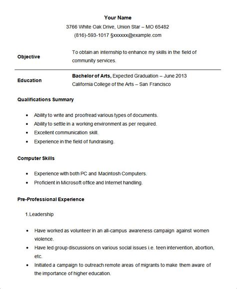 format for resume for internship resume sles for summer