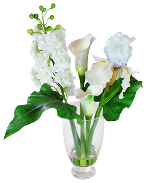 Artificial Cherry Fruit Plant With Glass Vase 1 delphinium iris calla in glass vase traditional artificial flowers plants and trees