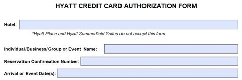 Credit Authorization Form Hyatt Hyatt Credit Card Authorization Form Template Pdf Freedownloads Net