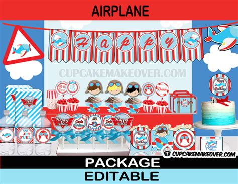 Airplane Wall Mural airplane birthday party printable package instant