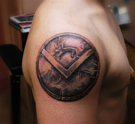 spartan shield tattoo by eddie lefty molina