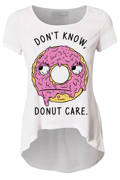 Donut Print Crop Top 10021 s don t donut care hi lo draped t shirt