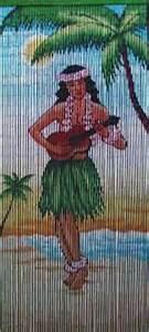 Bamboo room ider with ukulele playing hawaiian girl