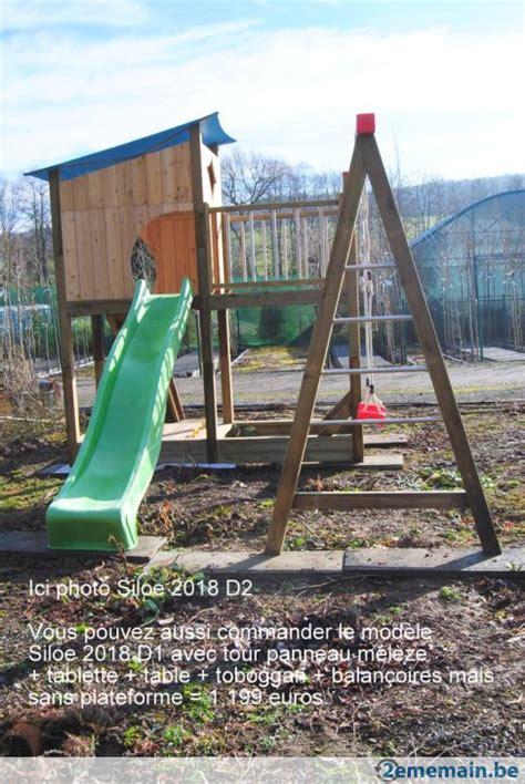 Balancoire Bois Belgique by Portique En Bois Avec Balan 231 Oire Et Toboggan Qualit 233 Belge