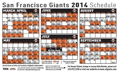 printable schedule for sf giants giants schedule san francisco giants