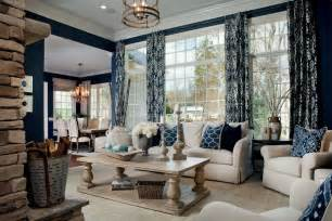 Navy blue curtains home in living room traditional with beige sofa art