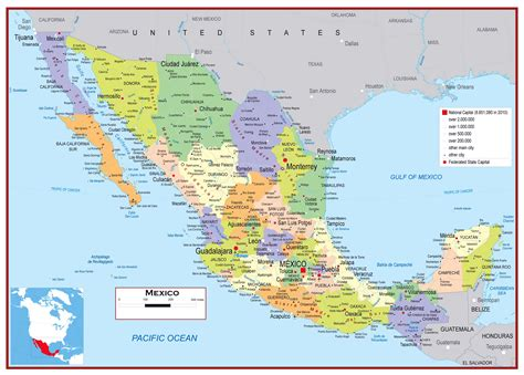 map of mexico and cities detailed mexico map