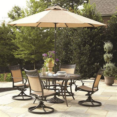 Outside Patio Dining Sets Garden Treasures Potters Glen 5 Outdoor Dining Set Lowe S Canada