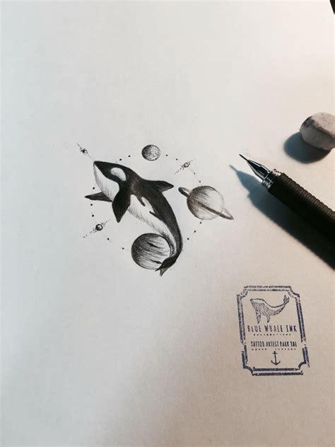 blue whale tattoo killer whale in universe circle design idea