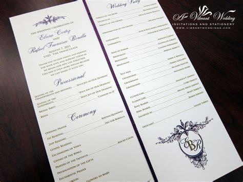 a program ceremony programs a vibrant wedding