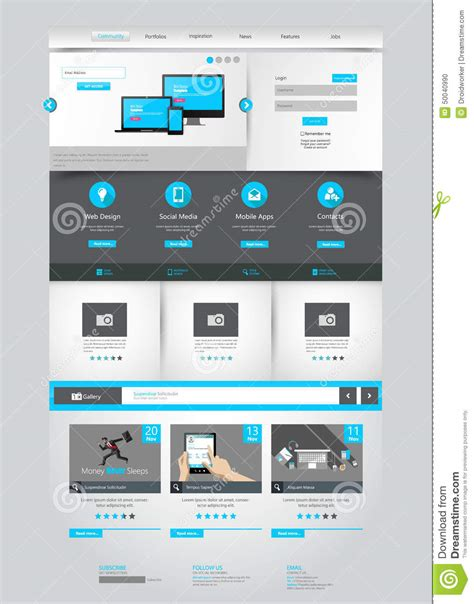 One Page Business Website Template Home Page Design Clean And Simple Vector Illustration Single Page Business Website Template