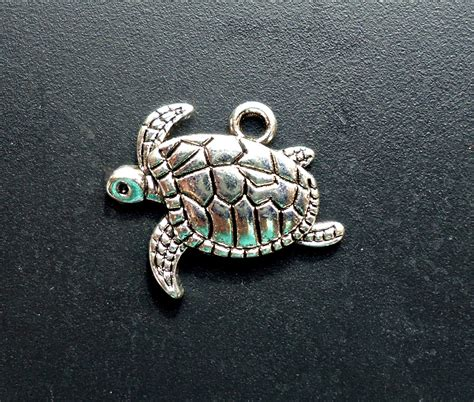Popits Charm Sea Turtle sea turtle charms pendants antique silver 21mm x 18mm from bargainblingjewelry on etsy studio
