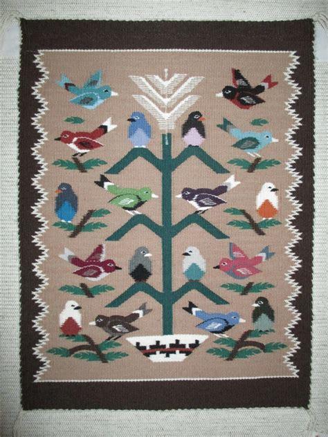 tree of navajo rug bird tree weaving by angela yazzie small size two grey