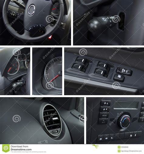 car dashboard upholstery car interior collage royalty free stock photo
