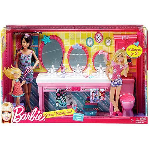 barbie doll bathroom barbie sisters beauty fun bathroom skipper doll set