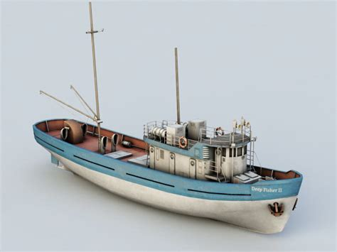 deep sea fishing boat plans deep sea fishing boat 3d model autodesk fbx files free
