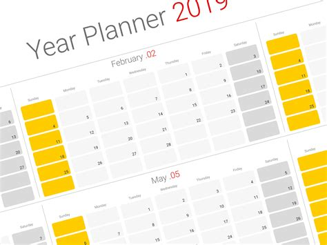 2019 Yearly Planner Template Modern Design Printable Pdf Template 2019 Planner Template