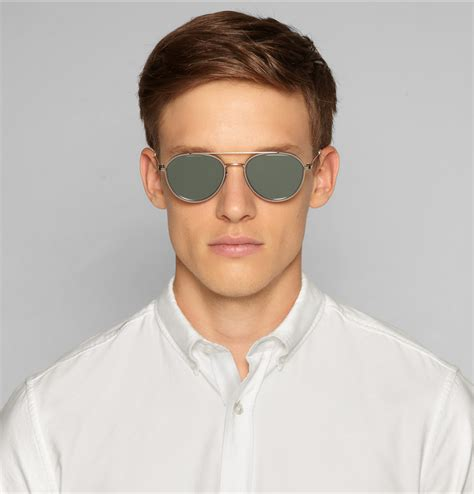 Thom Metal Silver by Lyst Thom Browne Aviatorframe Acetate And Metal