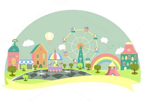 theme park vector amusement park cartoon 187 designtube creative design content