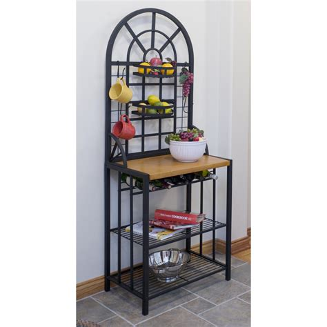 kitchen bakers rack cabinets black bakers racks walmart com