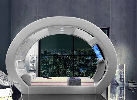 bed tech watching tv from the futuristic eclipse bed looks incredible