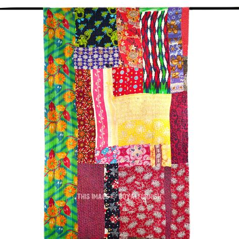 Quilted Patchwork Throw - vibrant colorful saree patchwork kantha quilted throw