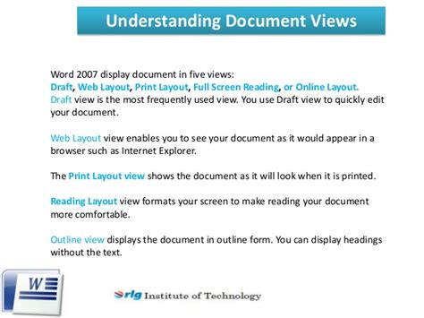 reading layout word 2007 introduction to microsoft word 2007