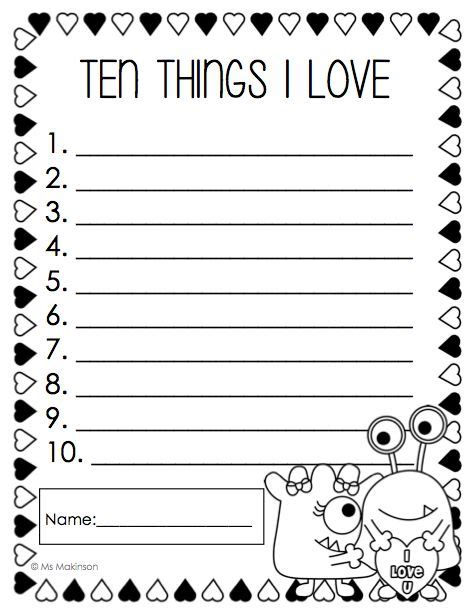 valentines writing activities february printables grade literacy and math