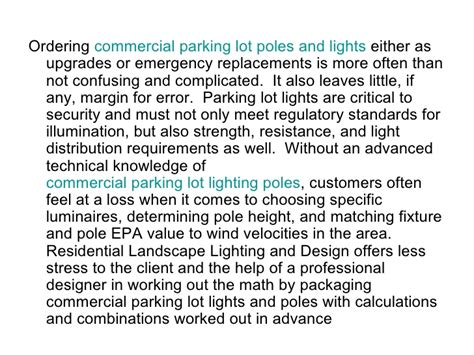 commercial parking lot light pole packages commercial parking lot light pole packages
