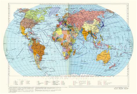 large detailed political map   world  soviet