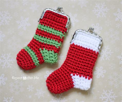crochet pattern for large christmas stocking crochet christmas stocking coin purse allfreecrochet com