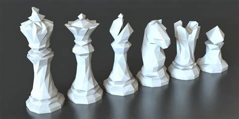 chess piece designs 3d printed faceted chess set by thomas davis pinshape