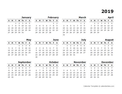 yearly calendar blank minimal design  printable templates