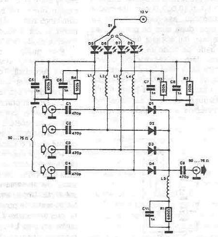 pin diode switch design antenna selector circuit diagram using pin diodes